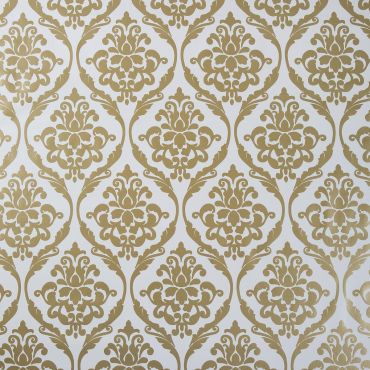 White and Gold Damask PVC Vinyl Wipe Clean Tablecloth