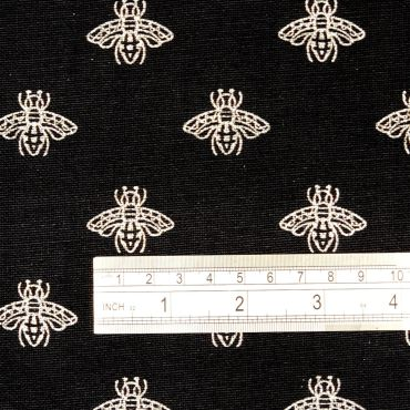 Black and Silver Bees Curtain 100% Cotton Crafting Roman Blind and Upholstery Fabric