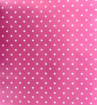 Pink and White Small Polka Dot PVC Vinyl Wipe Clean Tablecloth