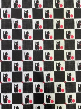 Black & White Checkered Cat Curtain and Upholstery Fabric