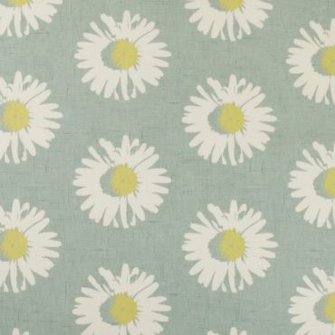 Duck Egg and White Daisy Capri Mineral Floral Oilcloth Wipe Clean Tablecloth