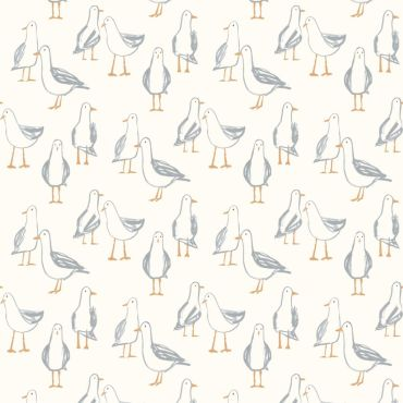 Taupe Seagulls Curtain and Upholstery Fabric