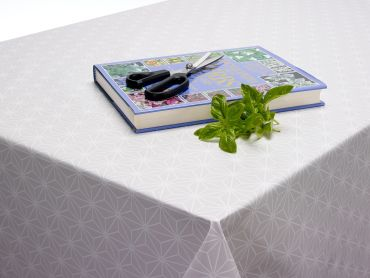 Grey and White Geometric Linear Cubes PVC Vinyl Wipe Clean Tablecloth