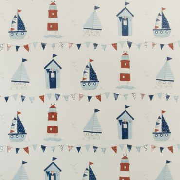 Beach Houses and Lighthouses Oilcloth Wipe Clean Tablecloth