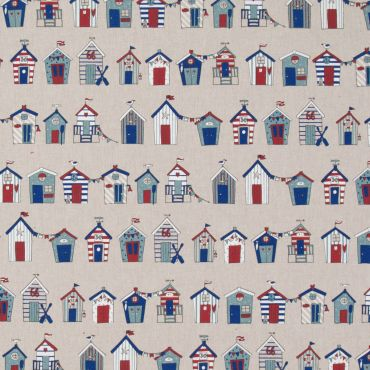 Linen Beach Huts Crafting Fabric