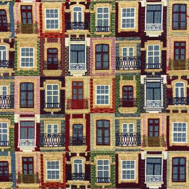 City Windows Tapestry Curtain and Upholstery Fabric