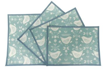 Duck Egg Narvik Scandi Oilcloth Wipe Clean Set of 4/6 or 8 Placemats