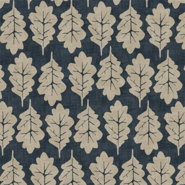 Navy Blue Oak Leaves 100% Cotton Curtain Upholstery Fabric