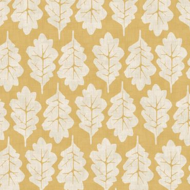 Ochre Yellow Oak Leaves 100% Cotton Curtain Upholstery Fabric