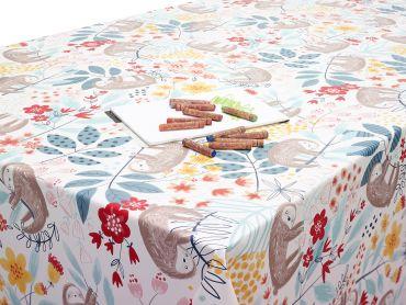 Ochre Duckegg Floral Sloths PVC Vinyl Wipe Clean Tablecloth