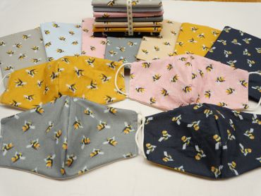 Bees/Plain Reversible Face Masks Adult and Child-7 Colours Available