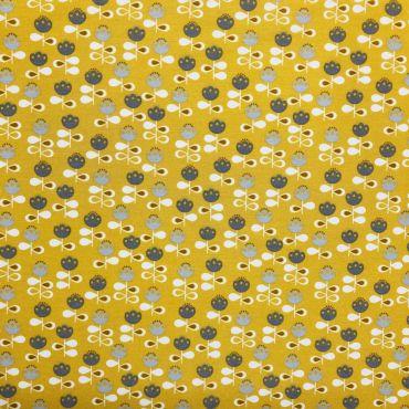 Ochre Yellow Scandi Tulips Curtain and Upholstery Fabric