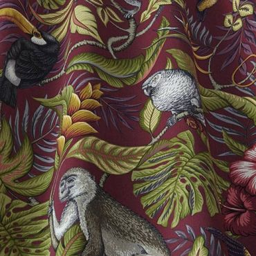 Rainforest Cranberry Tropical Toucans and Monkeys 100% Cotton Curtain and Upholstery Fabric