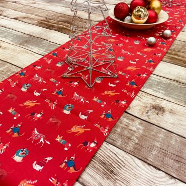 Red Festive Christmas Dogs Cotton Fabric Table Runner