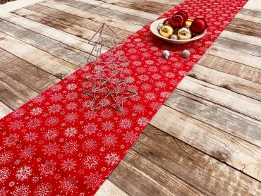 Red Festive Snowflakes Christmas Cotton Fabric Table Runner