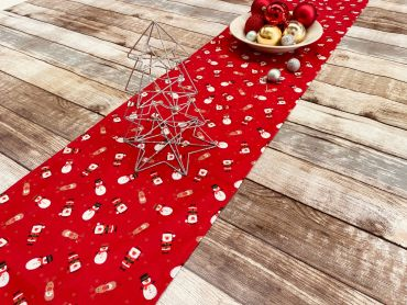Red Snowmen, Santa and Reindeer Christmas Cotton Fabric Table Runner