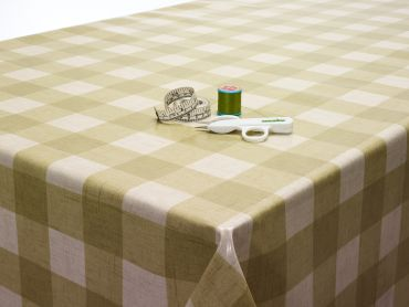 Sage Green Large Gingham Oilcloth Tablecloth