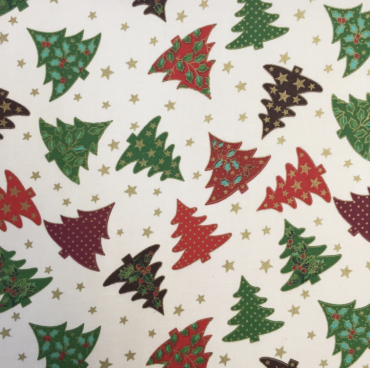 Cream Festive Christmas Trees Crafting and Quilting Cotton Fabric