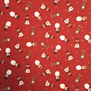 Red Christmas Santa Snowmen Crafting and Quilting Cotton Fabric