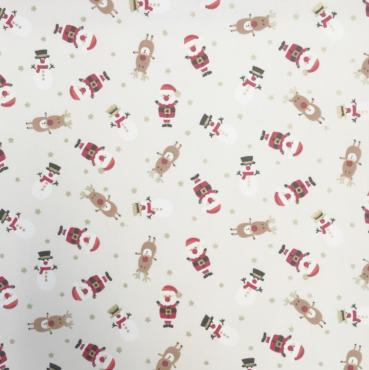 Cream Christmas Santa Snowmen Crafting and Quilting Cotton Fabric