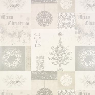 Silver Patchwork Merry Christmas PVC Vinyl Wipe Clean Tablecloth