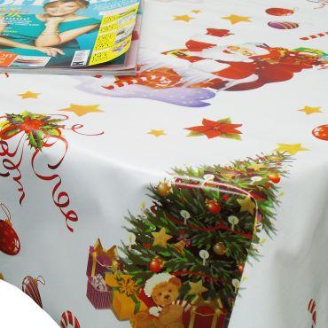 Christmas White Snowman and Santa PVC Vinyl Tablecloth