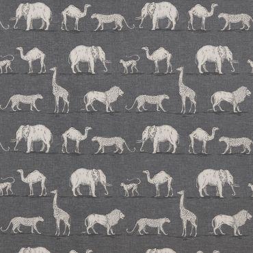 Smoke Grey Prairie Safari Animals Matte Finish Wipe Clean Oilcloth Tablecloth