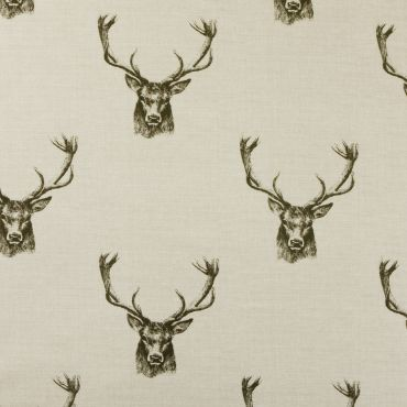 Stags Heads Beige Natural 100% Cotton Curtain Upholstery Fabric
