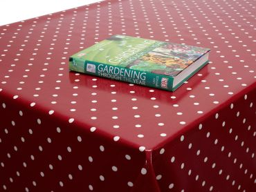 Dotty Red Polka Dot Oilcloth Wipe Clean Tablecloth