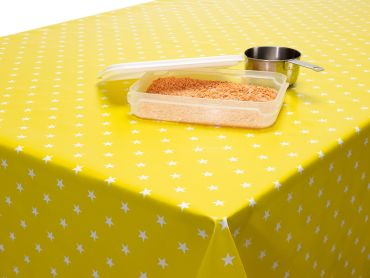 Yellow and White Little Stars PVC Vinyl Wipe Clean Tablecloth