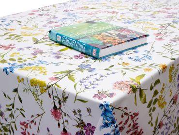 Multi Wild Flowers Floral PVC Vinyl Wipe Clean Tablecloth