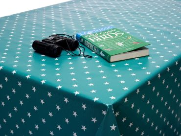 Jade Green and White Little Stars PVC Vinyl Wipe Clean Tablecloth