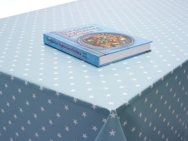 Duck egg and White Little Star PVC Vinyl Wipe Clean Tablecloth
