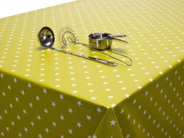 Lime Green Little Stars PVC Vinyl Wipe Clean Tablecloth