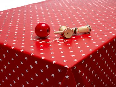 Red and White Little Star PVC Vinyl Wipe Clean Tablecloth
