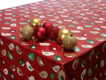 Red Christmas kissing Robins Oilcloth Tablecloth
