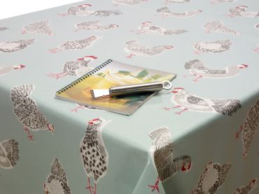 Duck Egg Chickens Wipe Clean Oilcloth Tablecloth