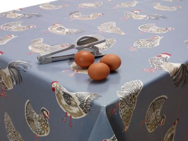 Blue Chickens Wipe Clean Oilcloth Tablecloth