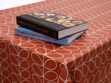 Orla Kiely Red Linear Steam Oilcloth Wipe Clean Tablecloth