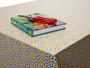 Ochre Yellow and Duck egg Floral Mosaic PVC Vinyl Wipe Clean Tablecloth