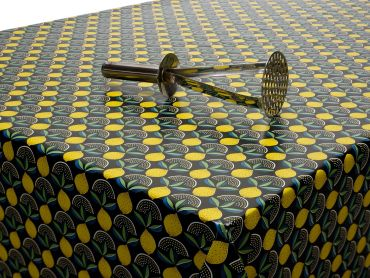 Black and Yellow Lemons PVC Vinyl Wipe Clean Tablecloth