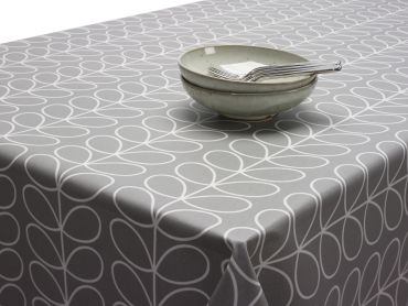 Orla Kiely Mustard Yellow Linear Stem Wipe Clean Oilcloth Tablecloth