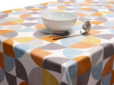 Burnt Orange, Ochre Yellow and Grey Circles Oilcloth Matt Finish Wipe Clean Tablecloth