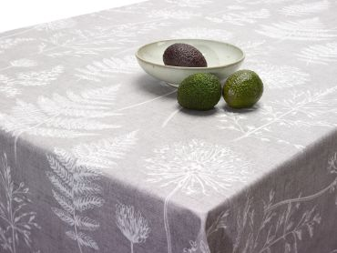 Chervil Dove Grey Meadow Floral Oilcloth Matte Finish Wipe Clean Tablecloth