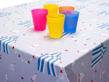 Sky Blue & Red Nautical Boats and Sandcastles Oilcloth Matte Wipe Clean Tablecloth