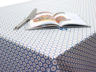Navy Blue Honeycomb Geometric PVC Vinyl Wipe Clean Tablecloth