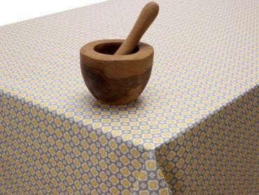 Ochre Yellow Small Floral Geometric PVC Vinyl Tablecloth