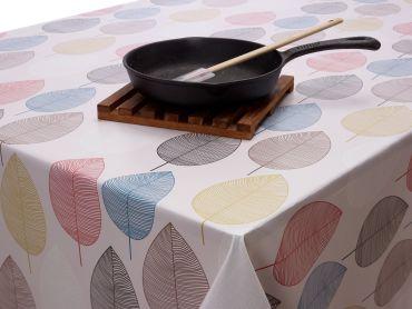 Ochre Burnt Orange Leaves PVC Vinyl Wipe Clean Tablecloth