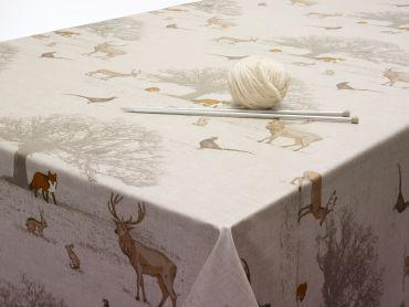 Tatton Autumn Woodland Animals Oilcloth