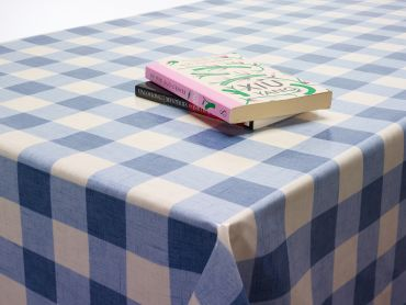 Blue and White Large Gingham Check Oilcloth Tablecloth